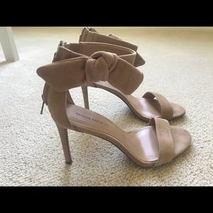 Banana Republic Nude Suede Sandal Heels with Bow